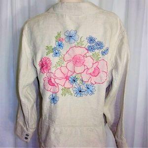 Liz Claiborne 100% Linen Embroidered Back Jacket L